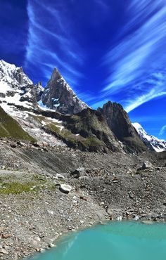 aiguille noire - beautiful clouds over the summit of the Aiguille Noire