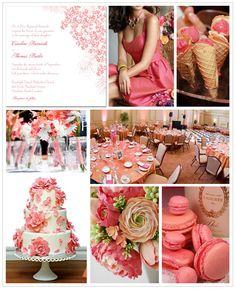 Honeysuckle Pink Inspiration Board #weddings