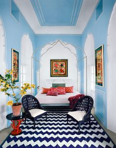 Jaipur | Step inside the jewel-like home of designer Marie-Hélène de Taillac One Bedroom, Bedroom Wall, Bedroom Decor, Jaipur, Painted Wood Chairs, Design Thinking, Architectural Digest, Home Decor Trends, Inspired Homes