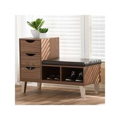 """Replace the extra vanity ---- Arielle Modern and Contemporary Wood 3 - Drawer Shoe Storage Padded Leatherette Seating Bench with Two Open Shelves - """"Walnut"""" Brown - Baxton Studio : Target Modern Interior, Modern Furniture, Furniture Design, Interior Design, Walnut Furniture, Shoe Storage Cabinet, Bench With Shoe Storage, Storage Drawers, Shoe Bench"""