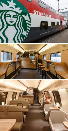 A double-decker Starbucks car features a walk up bar complete with a small food display as well as an upstairs in which train riders can order their food and coffee from the comfort of their padded leather seats. Bus Restaurant, Restaurant Design, Starbucks Shop, Starbucks Coffee, Coffee Shops, Coffee Tumblr, Design Café, Interior Design, Food Truck Design