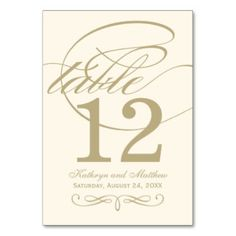 Table Number Card | Gold Calligraphy Design Table Card