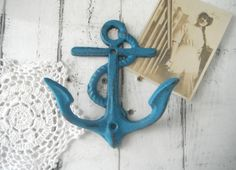 beach house decor anchor hook wall hook turquoise by Thewaterssong