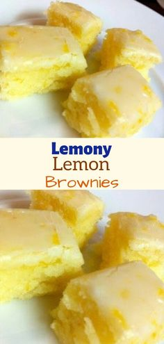 Lemon Brownies are my new favorite dessert. Topped with a delicious lemon glaze, they are just the right mix of fresh lemon and sweetness. We've made some great lemon recipes like Lemon Blueberry D… Dessert Party, Oreo Dessert, Lemon Desserts, Just Desserts, Egg Desserts, Desserts With Few Ingredients, Winter Desserts, Brownie Recipes, Cookie Recipes