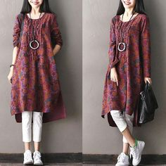 Asymmetrical Round Neck Floral Cotton And Linen Red Dress – Buykud