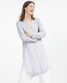 Image 2 of UNEVEN BLOUSE WITH KNOT from Zara
