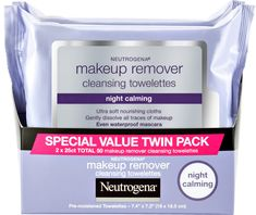 The Neutrogena Night Calming Makeup Remover Cleansing Towelettes Twin Pack is dermatologist & ophthalmologist tested, allergy tested and alcohol free. Neutrogena Makeup Remover, Makeup Remover Wipes, Soft Makeup, Waterproof Mascara, Facial Cleansing, Facial Skin Care, Cleanse, How To Remove, Make Up