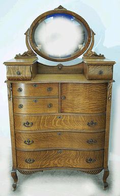 Oak Serpentine Hichest with Hat Box and Glove Boxes supporting Mirror, American Antique Oak Chest of Drawers, Bedroom Furniture