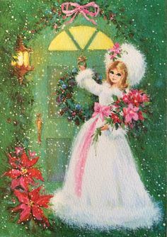 Vintage 1960's 1970's Christmas Greeting Card Little Lady Girl Doorway Never Used Mod Mid Century