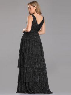d170c3cf3d3 V Neck Shimmery Tiered Evening Dress  eveningdress  eveningdresses   EverPretty  blackdresses  shimmerydress