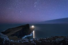 Neist Point Lighthouse under the Milky Way and Zodiacal light Photography Workshops, Image Photography, Landscape Photography, Scotland Landscape, Any Images, Milky Way, Lighthouse, Northern Lights, Scenery