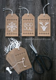Cross stitch christmas tags - by Craft & CreativityYou can find Christmas tag and more on our website.Cross stitch christmas tags - by Craft & Creativity Cross Stitching, Cross Stitch Embroidery, Cross Stitch Patterns, Paper Embroidery, Embroidery Ideas, Christmas Gift Tags, Christmas Cross Stitch Cards, Xmas, Gift Wrapping