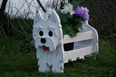 West Highland Terrier (Westie) Planter. Handmade and hand painted. Can be used indoors as well as outdoors. A unique gift for any animal lover.