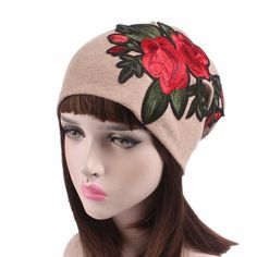 2780d555a89 Floral Embroidery Cancer Chemo Hat (Varied Colors Available). Hats For WomenWomen  HatSlouch BeanieFlower EmbroideryBaggyTurbanCaps ...