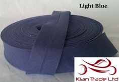 25 mm ( 1 inch ) Wide 100% Cotton Bias Binding tape single folder craft sewing dress material -  Light Blue Color