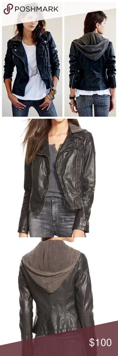 Free People Faux Leather Hooded Moto Jacket, 0 NWT Free People Vegan Faux-Leather Distressed Hooded Moto Jacket  Originally $168.00  Size 0   • Stand collar with snap-button closure  • Removable hood  • Asymmetrical zipper at front  • Long sleeves with zipper at cuffs  • Vertical zipper welt pockets at left and right chest.  • Mixed-media fake leather with knit hood. Lightweight.  • Hits at hip; approx. 22 inches long. Polyurethane; body lining: polyester/cotton; sleeve lining: polyester…