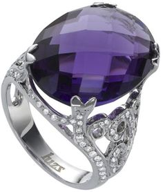 $3,554 Sortija oro blanco Luzz amatista diamante 0,70 K.