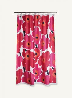 Marimekko Red Unikko Long Polyester Shower Curtain These fun shower curtains by Marimekko are in the popular Unikko pattern. Add a little bit of cheer to each day with a Marimekko Unikko shower curtain. Please note: Marimekko shower curtains do. Marimekko Shower Curtain, Modern Shower Curtains, Floral Shower Curtains, Red Curtains, Bathroom Shower Curtains, Big Shower, Contemporary Shower, Shower Curtain Rings, Fuchsia