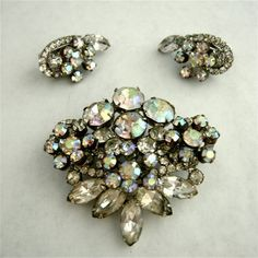 Vintage Aurora Borealis Brooch and Earclips by RosaMeyerCollection, $52.00