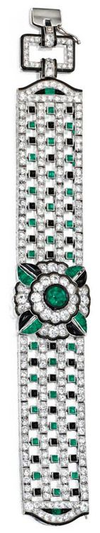 Art Deco diamond, emerald, onyx, and enamel bracelet by Mauboussin, circa 1925. Via Diamonds in the Library.