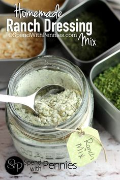 A delicious Homemade Ranch Dressing Mix. Simple to make, contains no MSG and is perfect in dressings and dips! From Spend With Pennies Homemade Spices, Homemade Seasonings, Homemade Things, Homemade Ranch Dressing Mix, Great Recipes, Favorite Recipes, Seasoning Mixes, Ranch Seasoning, Diy Food