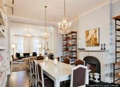 Billy & Katie Lee Joel's New York -  Townhouse, Dining Room. Love the dark and light mixed.