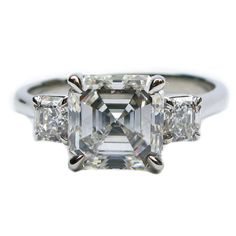 2.04 Carat Asscher Cut Diamond Platinum Engagement Ring | From a unique collection of vintage engagement rings at https://www.1stdibs.com/jewelry/rings/engagement-rings/