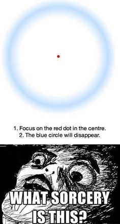 Stare at the red dot and the blue circle will disappear.