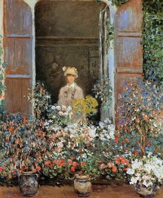 Camille Monet at the Window, Argenteuile,1873 by Claude Monet