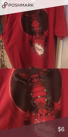 $5 New, Dead Pool Shirt  20% off 2 items! Never worn. Marvel Dead Pool! 3 Men's $10 or less or any other closet item (Women's/kids) 3 for $12, plus 20% off. See detailed add listed in my closet. Thanks! Marvel Shirts Tees - Short Sleeve