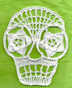 Blanca  Day Of The Dead Or Halloween Crochet Skull Appliques Calaveras Number 42