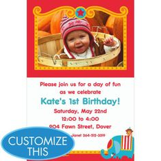 Fisher Price 1st Birthday Custom Photo Invitation