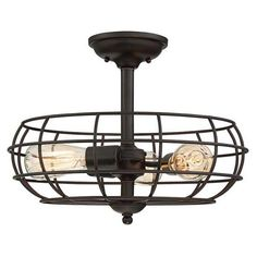 This Savoy House Scout ceiling semi-flush mount brings a new twist on bold industrial style with its cage shade and English bronze finish. -Bulb (s) not included Savoy House - Outdoor Ceiling Fans, Led Ceiling, Ceiling Fixtures, Light Fixtures, Transitional Kitchen, Transitional Decor, Home Depot, Semi Flush Lighting, Ceiling Fan With Remote
