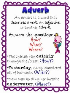 Free Posters - Adverbs & Adjectives and activities 2nd Grade Grammar, 2nd Grade Writing, Grammar And Punctuation, Teaching Grammar, 2nd Grade Reading, Teaching Language Arts, Classroom Language, Teaching Writing, Teaching English