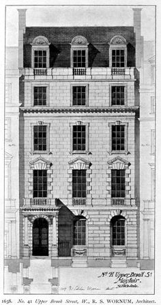 Elevation for a projected townhouse in Mayfair, London