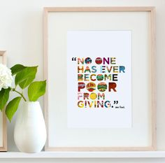 """Anne Frank """"Giving"""" Quote Typography Art Print"""