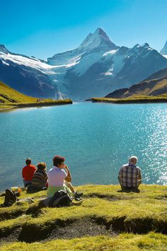 Grindelwald First Lake- Picnic- Grindelwald First- Swiss Alps, Switzerland.