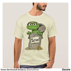 Shop Oscar the Grouch Scram T-Shirt created by SesameStreet. Personalize it with photos & text or purchase as is! T Shirt Art, Sesame Street Characters, Cartoon Characters, Oscar The Grouch, Cool Shirts, Tee Shirts, Cotton Tee, Funny Tshirts, Funny Tees