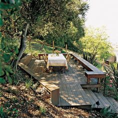 13 Clever Concepts of How to Makeover Sloped Backyard Deck Ideas When we Are speaking about the house decor, we can't forget speaking about the Sloped Backyard Deck Ideas. Backyard -- the outdoor side of this house decor, can Sloped Yard, Sloped Backyard, Backyard Landscaping, Backyard Ideas, Backyard Patio, Garden Ideas, Deck Ideas On A Slope, Deck Design Software, Cedar Deck