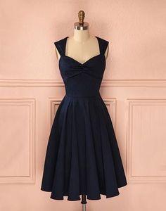 Cute A line dark blue short prom dress, homecoming dress,BD172807