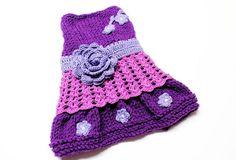 Hand Knit Purple Dog Dress size small por MaxMilian en Etsy