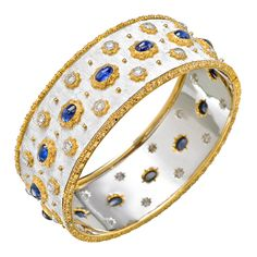 Estate Buccellati 18k White Gold, Sapphire & Diamond Cuff Bracelet