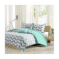 Intelligent Design Nadia Gray and Teal Four-Piece Twin/Twin XL... ($60) ❤ liked on Polyvore featuring home, bed & bath, bedding, comforters, twin xl comforter set, extra long twin comforter, twin comforter, gray chevron comforter and twin comforter sets