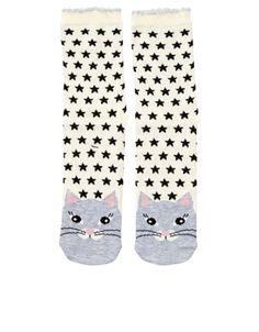 Superstar Cat Socks   Cream   Accessorize