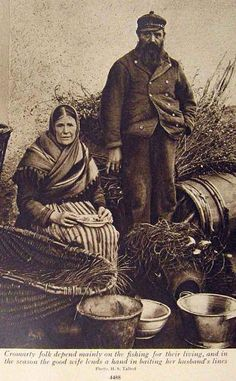 "Taken c1890, the caption reads ""Cromarty folk depend mainly on the fishing for their living, and in the season the good wife lends a hand in baiting her husband's lines."""