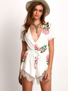 Online shopping for White Plunge V-neck Floral Print Crochet Lace Jumpsuit from a great selection of women's fashion clothing & more at MakeMeChic.COM.