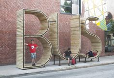 Bus Stop Shaped Like Giant Letters In Baltimore