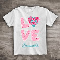 Personalized Valentines Day t-shirt Love and hearts by StoykoTs