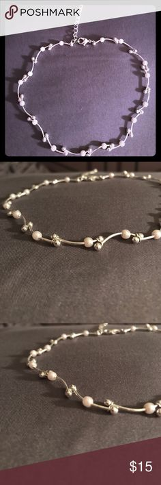Pearl and silver choker Pearl and silver bead choker Accessories
