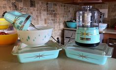 Pyrex diamond bowl & Starbursts, & KitchenAid mixer & chopper in Ice Blue
